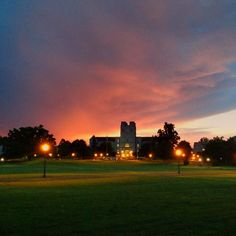 The sunset after over Burruss Hall at Virginia Tech  (Photo by Peter Means) #virginiatech #hokies