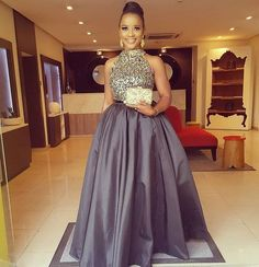 Halter Rhinestone Ball Gown Evening Dress Formal Pageant Celebrity Prom Gown New African Maxi Dresses, Latest African Fashion Dresses, African Attire, Lace Dress Styles, Evening Party Gowns, Black Evening Dresses, Gowns Of Elegance, Classy Dress, Outfits