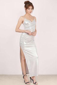 Helix Draped Metallic Maxi Dress at Tobi.com #shoptobi