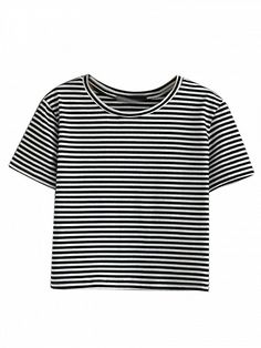 Monochrome Stripe Short Sleeve Cropped T-shirt