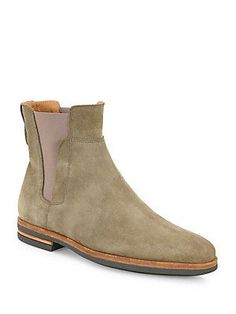Vince Harvey Calfskin Suede Chelsea Boots - Truffle