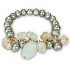 M by Miadora Goldtone Pistachio Pearl and Agate Stretch Bracelet   Overstock.com Shopping - The Best Deals on Pearl Bracelets