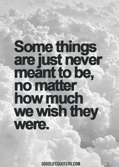 some things are just never meant to be, no matter how much we wish they were...