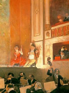 """Jean Béraud (1849 – 1935) was a French Impressionist painter and commercial artist noted for his paintings of Parisian life during the Belle Époque. ~ """"Representation at the Theatre des Varietes"""""""