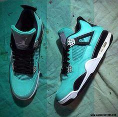 """Jordan's IV """"Tiffany"""" Customs. Ladies ♥ Tiffany."""