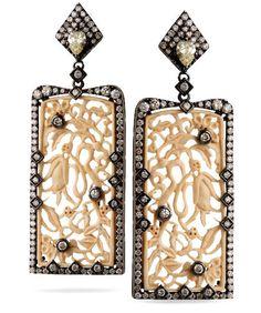 Bochic Ivory and Diamond Earrings