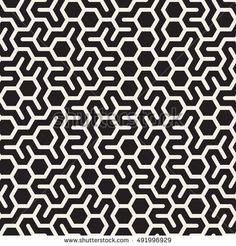 Vector Seamless Black and White Irregular Hexagonal Grid Pattern. Abstract Geometric Background Design