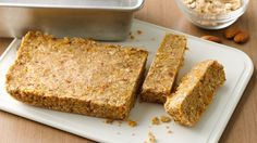 Overnight Oatmeal Bars With Yoplait, Almonds, Old Fashioned Oats, Dried Fruit Overnight Oatmeal, Oatmeal Bars, Oatmeal Yogurt, Granola Bars, Breakfast Bars, Make Ahead Breakfast, Brunch Recipes, Breakfast Recipes, Brunch Ideas