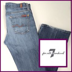 """7 For All Mankind Bootcut Jeans Bootcut Jeans from 7 For All Mankind. Slightly distressed on thighs and a little on the hem. Super soft denim! Inseam is 31"""" and the rise is approx 7"""". Good Condition! 206201645 7 for all Mankind Jeans Boot Cut"""