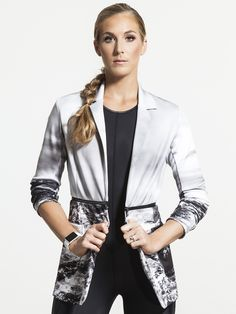 Curium Printed Blazer by CARBON38 in Graphic Print