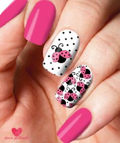 37 Trendy Ideas For Fails Art Summer Lady Bug Gelish Nails, Pink Nails, Simple Nail Designs, Nail Art Designs, Ladybug Nails, Nail Desighns, Mickey Nails, Vacation Nails, French Nail Art