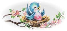 Vintage Shabby Bluebird in Nest on Dogwood Waterslide Decals BIR811 | eBay