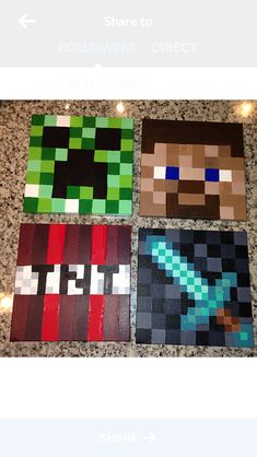 Hand painted Minecraft canvases for Jordan's bedroom