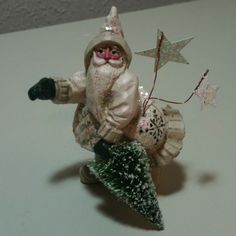 """Midwest Of Cannon Falls 2.5"""" Winter White Santa Figure Signed P. Schifferl"""