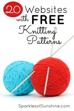Never buy another knitting pattern again when you can get one for free from this list of 20 websites with free knitting patterns. Knitting Websites, Knitting Help, Knitting For Beginners, Loom Knitting, Knitting Patterns Free, Knitting Needles, Baby Knitting, Free Pattern, Crochet Patterns