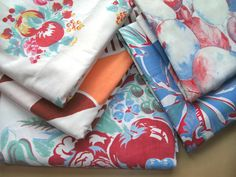 Vintage Cotton Tablecloths5 Cutters for by GrammasLinenCloset, $28.00