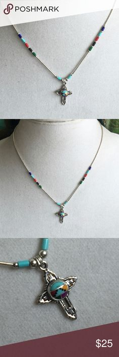 """Boho Liquid Silver Inlay Gemstone Cross Necklace Cool little vintage liquid silver necklace - Bright and colorful gemstones - Inlay gemstone and sterling silver necklace - 16"""" long - Liquid silver and multi-gemstone beads - Can actually be worn on both sides - UnMarked but tested as sterling - Cross is about 1"""" long - Layers really nicely with similar style liquid silver necklace as shown in last picture.... Vintage Jewelry Necklaces"""