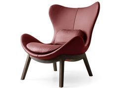 High-back leather armchair LAZY | Leather armchair by Calligaris