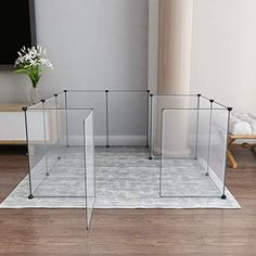 Tespo Pet Playpen, Portable Large Plastic Yard Fence Small Animals, Puppy Kennel Crate Fence Tent, 12 Panels, 28 X 20 inches Dog Playpen Indoor, Puppy Playpen, Puppy Kennel, Indoor Dog Area, Indoor Dog Rooms, Playpen For Dogs, Ferret Playpen, Playpen Ideas, Rabbit Playpen