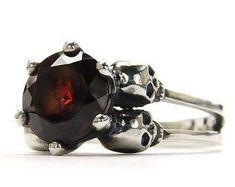 Skull Wedding Ring Blood Garnet Goth Wedding Sterling Silver Red Garnet Skull Engagement Ring Psychobilly Ring Art Jewellry Gift All Sizes