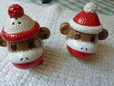 Sock Monkey Salt and Pepper Shakers -- omg, I want these!