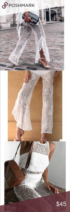 White lace pants New without tags. Worn to model - size : XS Pants