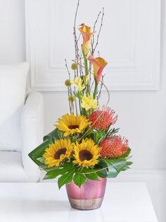 Sunflower and Calla Lily Arrangement Belfast, Dublin, Cork, Fall Flowers, Calla Lily, Flower Arrangements, Glass Vase, Bouquet, Plants