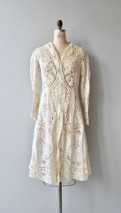 Antique 1910s Edwardian cream tape lace jacket with subtle flared shape and one single closure. --- M E A S U R E M E N T S ---  fits like: small / medium shoulder: 16.5 waist: best fit up to 31 hip: free sleeve: 22 length: 44 brand/maker: n/a condition: excellent  ★ layaway is available