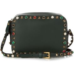 Valentino Rockstud Rolling leather camera cross-body bag ($2,095) ❤ liked on Polyvore featuring bags, handbags, shoulder bags, dark green, leather shoulder bag, leather handbags, handbags totes, leather tote and crossbody purse