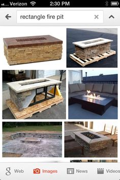 Google- rectangle fire pit