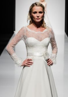 Felicia - French lace and Thai silk dress with delicate sheer sleeves Stunning Wedding Dresses, 2016 Wedding Dresses, Dresses 2016, Silk Chiffon, Silk Dress, New Dress Collection, French Lace, Felicia, To My Daughter