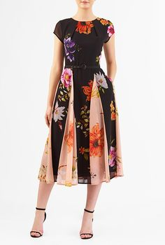 I <3 this Tropical floral print georgette belted dress from eShakti
