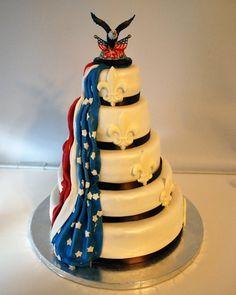 Proud to be an American Military Fleur De Lis wedding cake.
