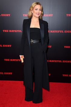Kate Hudson Jumpsuit - Kate Hudson was sleek and sophisticated in a black Elie Saab jumpsuit at the New York premiere of 'The Hateful Eight.'