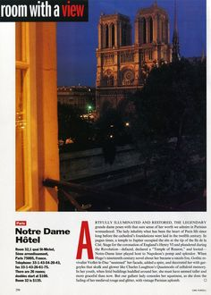 "25 Years of ""Room with a View"" Photos : Condé Nast Traveler::  ROOM 32  PARIS, FRANCE  October 1993"