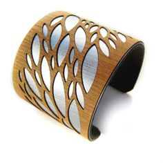 Leaf Cuff bracelet Silver and wood #jewelry