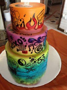 Graduation graffiti cake
