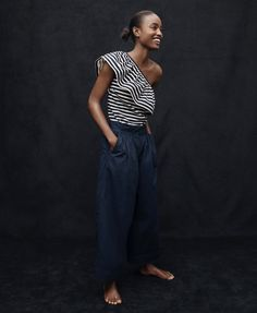 J.Crew women's one-shoulder top in stripes and collection wide-leg cropped pant in Italian chino.