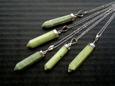 Green Jade Necklace Stone Pendant Green Crystal by SinusFinnicus