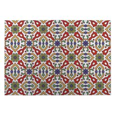 Kavka Designs / Purple/ Gold Kaleidoscope 2' x 3' Indoor/ Outdoor Floor Mat