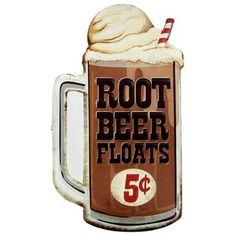 "Settle on down with a nice large glass of cold root beer and sweet vanilla ice cream. Root Beer Float Embossed Die Cut Tin Sign features a large mug of root beer, a large scoop of vanilla ice cream, and a red and white striped straw. The embossed text adds a touch of dimension to the sign. Hang it in your kitchen, game room, home theater, and more for an instant touch of nostalgia.    	Dimensions:    	  		Length: 13""  	  		Width: 7 1/4""      	Hanging Hardware: 1 sawtooth hanger ..."