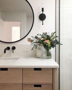 """""""A little reminder to myself to create a space around me that quiets the noise, whatever that looks like.""""home decor ideas Wood Bathroom, Bathroom Renos, Basement Bathroom, Bathroom Fixtures, Modern Bathroom, Small Bathroom, Kitchen Fixtures, Round Mirror In Bathroom, Bathroom Lighting"""