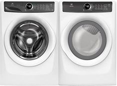 Electrolux Front Load LuxCare 27 Inch Washer with 27 Inch Gas Dryer Laundry Pair in White Portable Washing Machine, Clean Washing Machine, Washer Pedestal, Clean Washer, Stainless Steel Drum, Laundry Dryer, Gas Dryer, Front Load Washer, Washer And Dryer