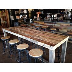 Reclaimed Wood Bar Counter Community Rustic Custom Kitchen Coffee... ($525) ❤ liked on Polyvore featuring home, furniture, black, dining room furniture, home & living, kitchen & dining tables, rustic bar table, rustic counter height table, rustic pub table and black pub table