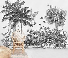 Wild Jungle peel&stick wall mural, wall decoration in vintage tropical style State Of The Art, State Art, Art Mural, Wall Murals, Safari, Interior Wallpaper, Wallpaper Ideas, Black And White Wall Art, Black White