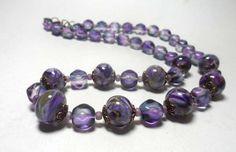 Beaded Jewelry Handmade Lampwork Necklace. by ManechkaCopper #purple