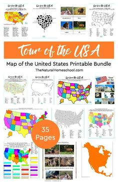 Tour of the USA ~ Awesome Map of the United States Printable Bundle https://www.thenaturalhomeschool.com/tour-of-the-usa-awesome-map-of-the-united-states-printable-bundle.html This is another fun set on our Tour of the USA series ~ Map of the United States Printable Bundle! Let us show you this amazing unit on the beautiful country of the United States. #homeschool #learningfun #homeschooling #learning