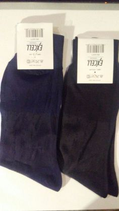 MEN'S VINTAGE SILKY SHEER NYLON DRESS SOCKS 2-PAIR GREAT WEAR WITH LEATHER SHOES #EXCELL #Dress