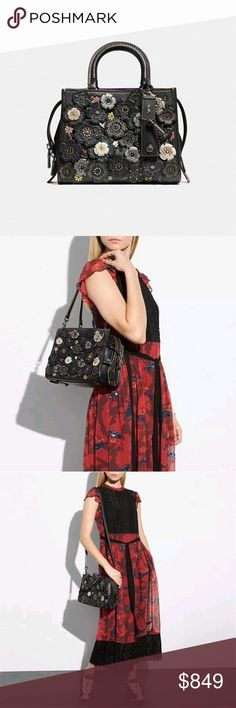 NWT Coach 1941 Rogue 25 with Tooled Tea Rose Rock N' Roll in this Authantic Natural Pebbled Leather Coach 1941 Collection! Brand New with Dust bag and Coach Gift Wrap. Gift receipt provided upon request. Coach Bags