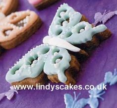 Decorated butterfly cookies by Lindy Smith